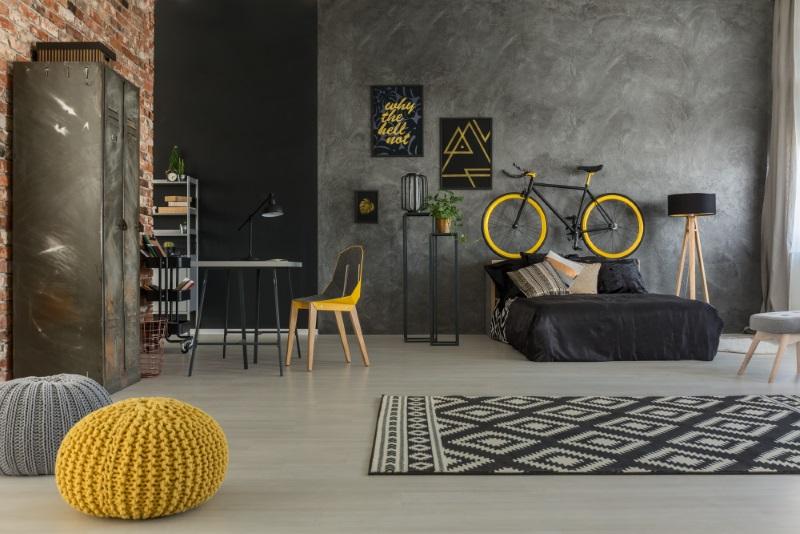 Cameră în tonuri de gri cu o pată de culoare galbenă - design interior inspirat pentru o casă de vis
