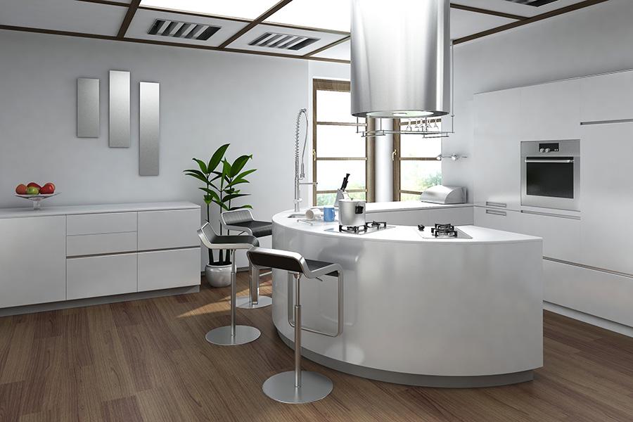 Bar rotunjit, folosit pentru crearea unui open space între bucătărie și living