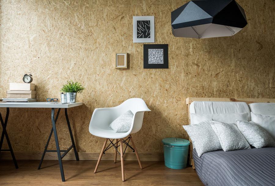 Perete realizat din plăci OSB - un material tot mai folosit in designul interior