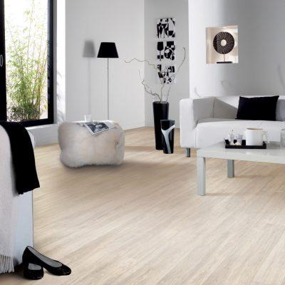 Living cu parchet bej si mobila si decoratiuni in alb si negru