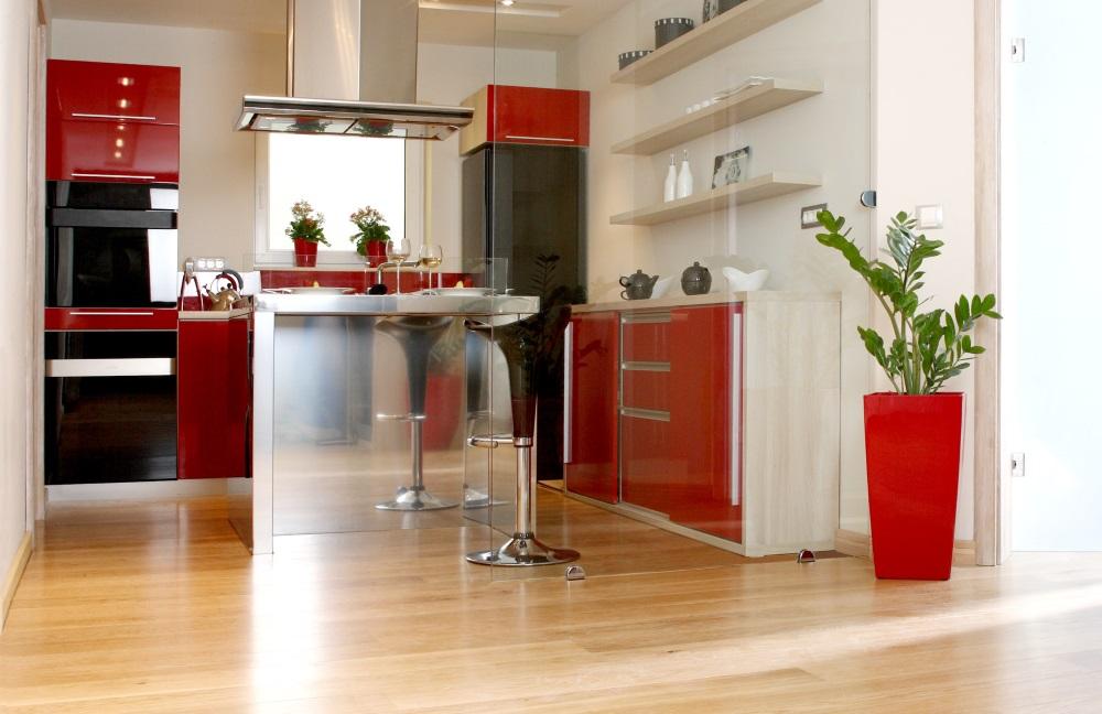 Bucătărie în negru cu roșu și rafturi