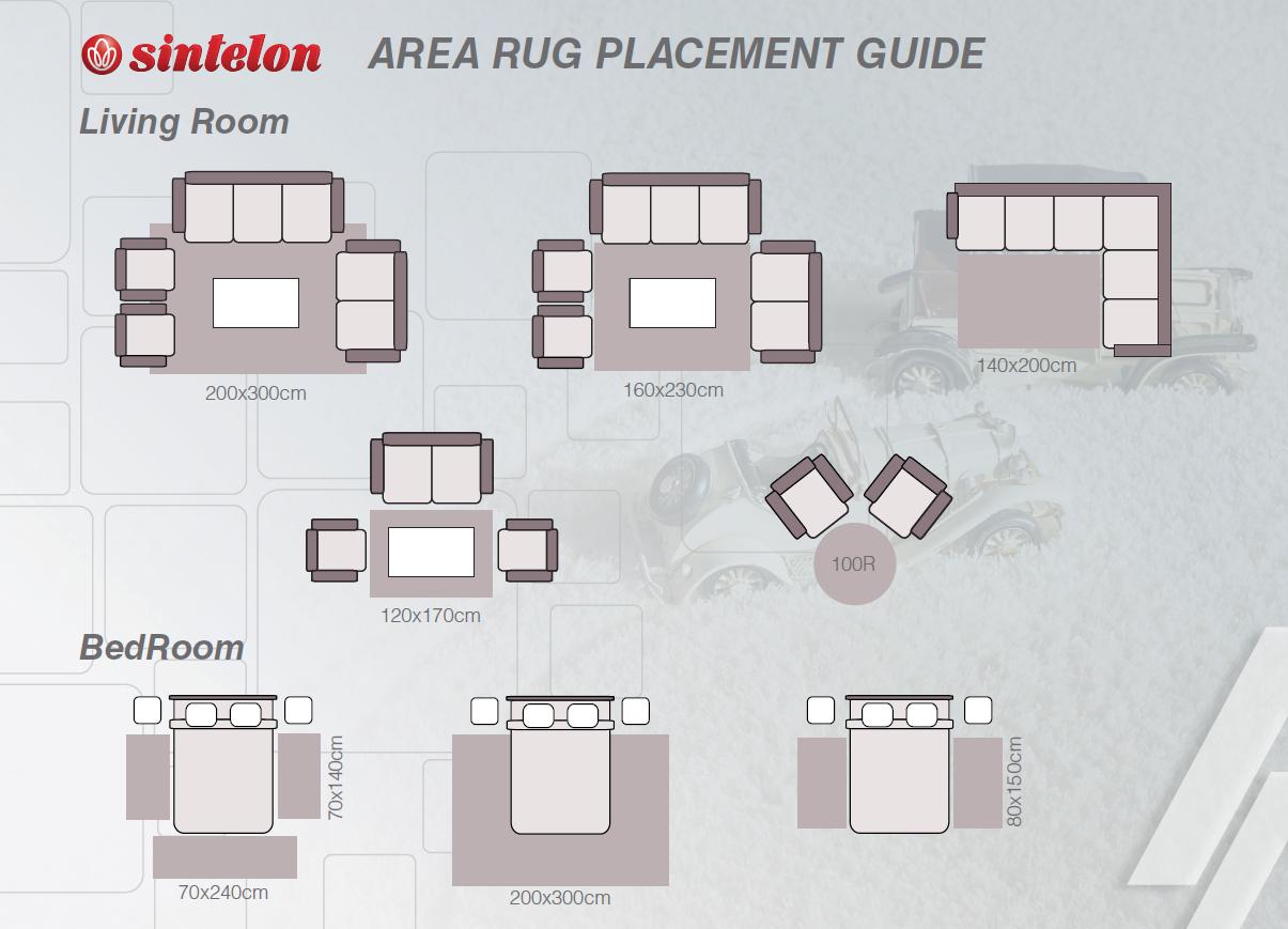 Schema cu covoare de diverse dimensiuni și așezari recomandate, în funcțioe de cameră și de mobilier