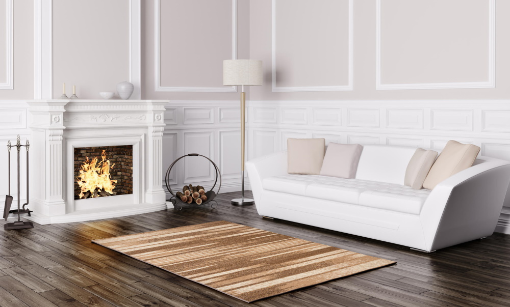 Covor maro cu alb, care a fost curățat, în living cu canapea albă și șemineu
